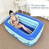 Vasca da bagno, piscine Ammollo Bagni blu Adulti pieghevole libero gonfiabile benna casa Fill per bambini in plastica Vasche da bagno -, pompa a pedale idromassaggio