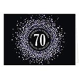 Große XXL (A4) Glückwunschkarte zum 70. Geburtstag - Konfetti Look Lila auf schwarz/mit Umschlag/Edle Design Klappkarte/Glückwunsch/Happy Birthday Geburtstagskarte/Extra Groß/Edle Maxi Gruß-Karte