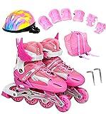 GUOCU Verstellbar Inliner für Kinder, Leucht Inline Skates Rollschuhe für Damen/Herren