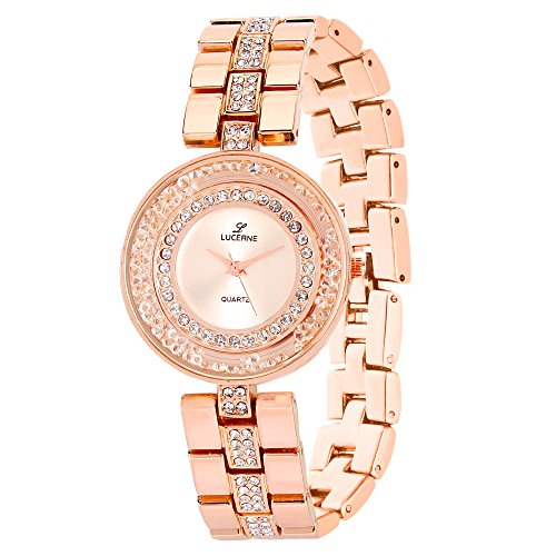 LUCERNE Analogue White Designer Dial Rose Gold Metal Strap Gift Watches for Women A Modern Ladies Watch Summer Sale Offer