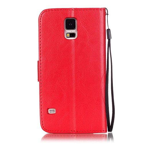 Qiaogle Téléphone Coque - PU Cuir rabat Wallet Housse Case pour Apple iPhone 6 Plus / iPhone 6S Plus (5.5 Pouce) - YB07 / Fashion Bleu & Flower YB02 / Fashion Rouge & Flower