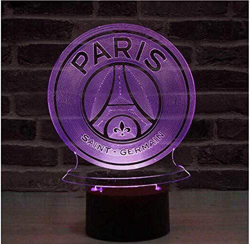 Fc Paris Saint Germain Fußballclub Led Nachtlicht 3D Illusion Kinder Kinder Ligue 1 Fußball Logo Psg Nachttisch Nachttischlampe