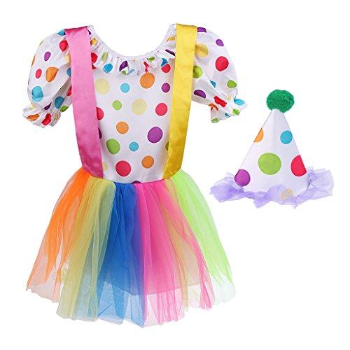 MagiDeal Polka Dot Clown-Kostüm Kinder Mädchen Clownskostüm 2-TLG. - M