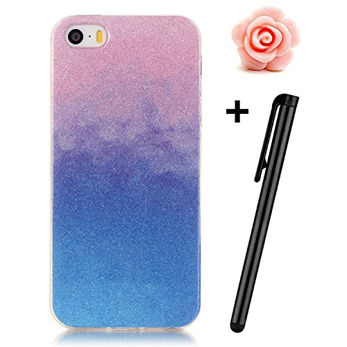 Toyym - Cover in poliuretano termoplastico, anti-graffio, ultra sottile, flessibile, trasparente con brillantini, per Apple iPhone SE/5S/5+ 1pennino capacitativo + 1tappo anti polvere a forma di fi Color#13