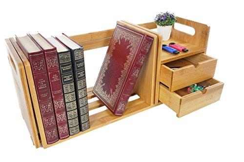 Bramley Power Bambus Holz Monitor Riser Ständer Ständer Ständer mit Organizer Schubladen für Monitor, Laptop, Computer oder TV Regal mit 2 Schubladen Map(language_tag -> en_GB) -