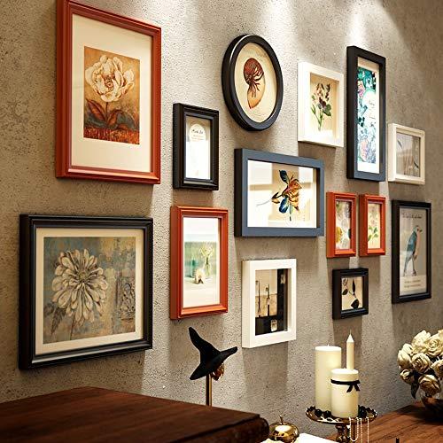 LH-ZP Bilderrahmen Collage Holzrahmen Familienfotorahmen zum Verschönern Einer Wandfläche von ca. Vintage-Optik Multi Picture Holz Braun (Picture Collage Für Die Wand)