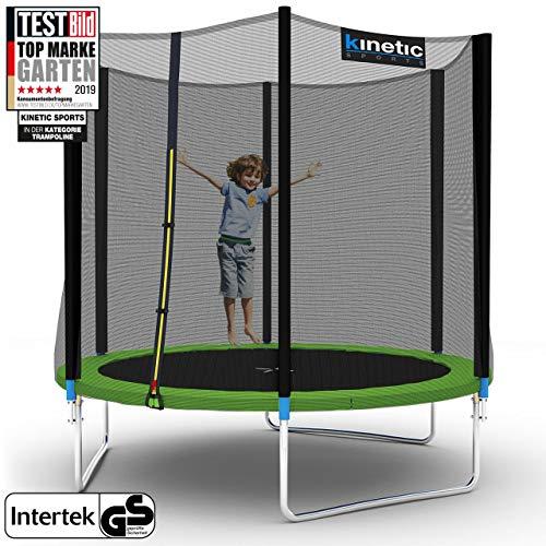 Kinetic Sports Outdoor Gartentrampolin Ø 250 cm, TPLH08, Komplettset inklusive Sprungtuch aus USA PP-Mesh +Sicherheitsnetz +Randabdeckung, bis 150kg, Intertek GS-geprüft, UV-beständig, GRÜN