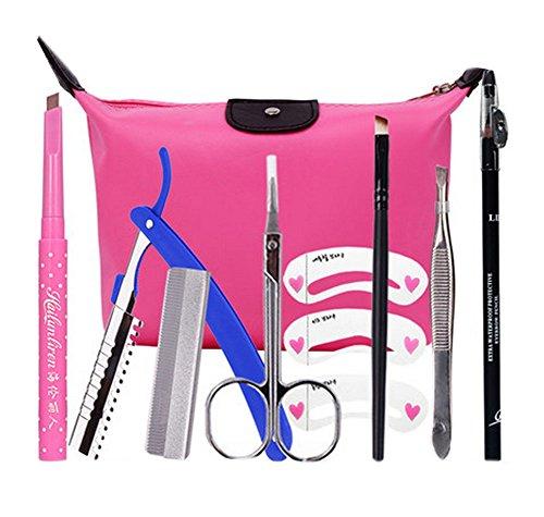 9 pièce maquillage définissez / professionnel maquillage sourcils, crayon brun