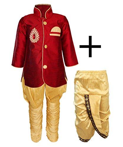 JBN Creation Kids Indowester Sherwani Suit Dress with Jodhpuri Breedges and Dhoti...