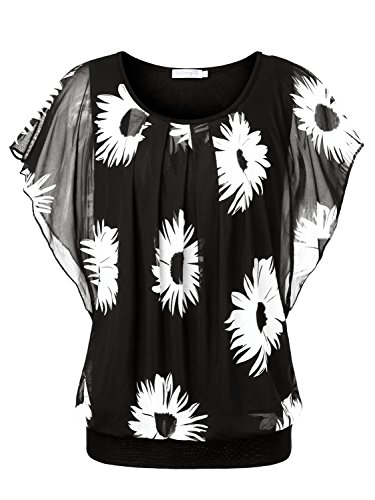 BAISHENGGT Damen Falten Kurzarm Tunika Batwing Rundkragen Bluse Schwarz-Blumen Medium