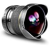Neewer Pro 8mm f/3,5 Asphérique HD Fisheye Objectif pour Nikon DSLR 8-8mm Caméras avec Casquette d'Objectif de Protection, Capuchon d'Objectif Amovible et Sac de Transport