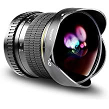 Neewer 8mm f/ 3,5-22 Asférico HD Ojo de Pez Lente con Tapa Protectora, Lente Extraíble Parasol de Tulipán y Bolsa de Transporte para Cámaras Canon DSLR
