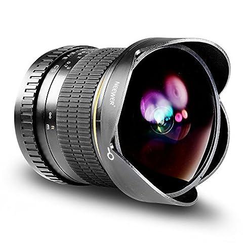 Neewer Pro 8mm f / 3.5 Aspherical HD Fischaugen-Objektiv für Canon DSLR-Kameras mit Schutzobjektivdeckel , abnehmbarer Lichtblende und Tragetasche