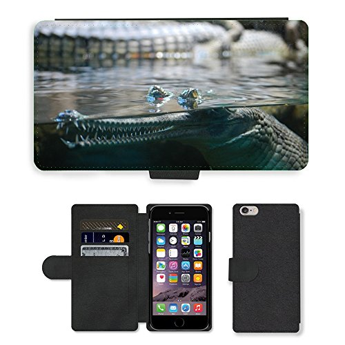 Just Mobile pour Hot Style Téléphone portable étui portefeuille en cuir PU avec fente pour carte//m00138883 Crocodile Animal de Prague Zoo//Apple iPhone 6 Plus 14 cm