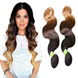 thatsyou 6 A Videoleuchte 100 g Body Wave Perücke Echthaar natürlichen 1b427 # Tissage brasilianisches Black/Brown/Blonde Wave Human Hair Weaves