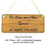Mr. & Mrs. Panda Hunde Türschild Alano Español Classic Schild - 100% handgefertigt aus Bambus Holz - Hund Hunderasse Tierrasse Tier Tiere Geschenk Geschenke Tierfreund Dog Anhänger Schlüsselanhänger