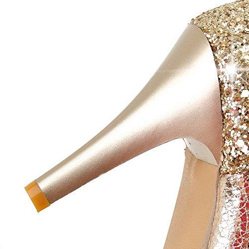 AgooLar Damen Hoher Absatz Lackleder Gemischte Farbe Schnalle Spitz Zehe Pumps Schuhe Golden