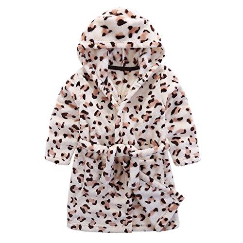 Kinder Bademantel mit Kapuze Nachthemd, Jungen Mädchen Niedlich Handtuch Pyjamas Flanell Nachtwäsche Robe Karikatur Schlafanzüge Hausmantel -