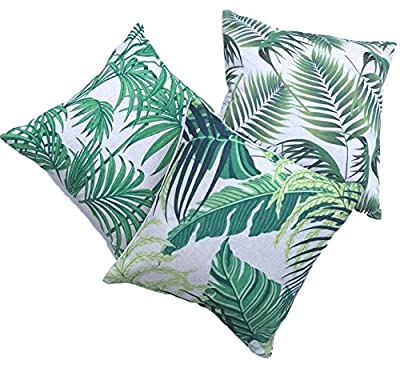 Clara Indoor Outdoor Garden Scatter Cushion Covers Tropical Palm Leaf Water Resistent Jungle Rainforest Decorative Faux Linen - low-cost UK light store.