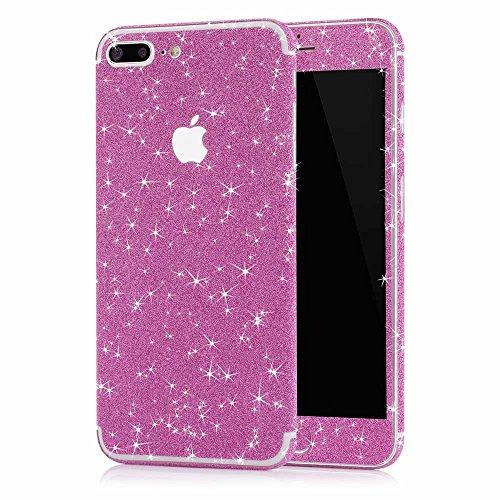MC24® Glamour Skin Glitzerfolie für Apple iPhone 7 Plus in pink - Diamond Shine Klebefolie für die Vorder- und Rückseite