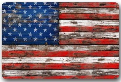 Custom Machine-Washable Door Mat American Flag Usa Flag On Old Barn Wood Indoor/Outdoor Fußabtreter 23.6(L) x 15.7(W) Inch Bathroom Kitchen Decor Rug Mat Welcome Fußabtreter -