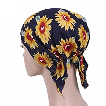 Transer® Chemo Hat, Sunflower Muslim Women Cap Ruffle Chemotherapy Hats Summer Scarves Turban Headwear Gift (A) 0