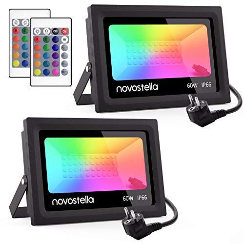 [2Packs] 60W Faretto LED RGB Esterno, Ustellar Proiettore LED Dimmerabile LED RGB da Giardino, Novostella 16 Colori 4 Modalità Luce LED Impermeabile IP66 con Telecomando