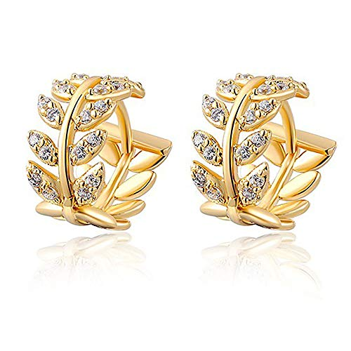 ZZD Diamant Goldfarbe 14k Gold Willow Leaf Hypoallergenic Ohrringe Female (Weiß-diamant-ohrringe 14k)