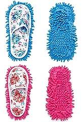 Idea Regalo - DIKETE®, 2paia di pantofole in microfibra, per la pulizia dei pavimenti, con strato rimovibile, ciabatte per spolverare, per la casa, il bagno, la cucina, l'ufficio, colori blu e rosa