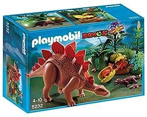 Playmobil - 5232 - Jeu de Construction - Stégosaure et ses Bébés avec Fôret