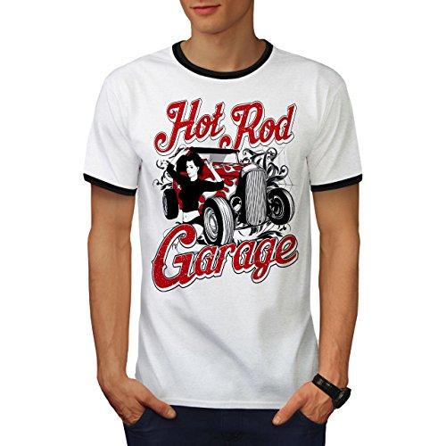 Mädchen Garage Heiß Rennen Auto Herren S Ringer T-shirt | Wellcoda (Rallye Ringer T-shirt)