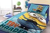 'Minions–Set di biancheria da letto biancheria da letto per bambini 140x 200cm federa 70x 90cm Try Harder