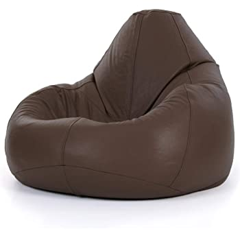 Icon Luxury Real Leather Classic Bean Bag Brown Extra