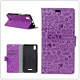 Funda® Capirotazo Billetera Funda para Wiko Lenny 4 Plus (Púrpura)