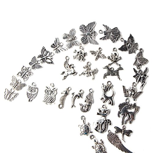 100pcs Wholesale Retro Silver Charm Tibetan Pendants Mixed In Bulk For DIY Necklace Bracelet Jewelry Making