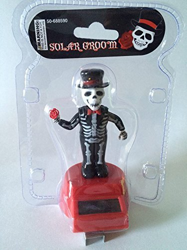 Greenbrier Fun and Cute Toys Halloween Solar Skeleton Groom Solar Powered Dancing Figure for Halloween or Over the Hill