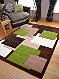 Tempo Brown Green Square Design Thick Quality Modern Carved Rugs. Available in 6 Sizes (120cm x 170cm)