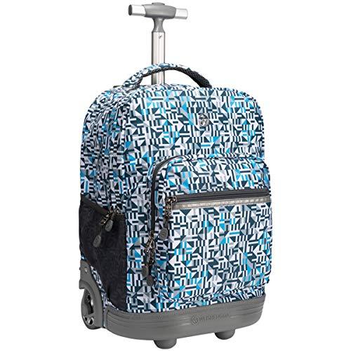 Trolley Rolling Rucksack Schultasche 18 Zoll für Kinder,Schüler und Studenten mit viel Stauraum für Reisen, Schule und Ausflüge, Blau Grau ()