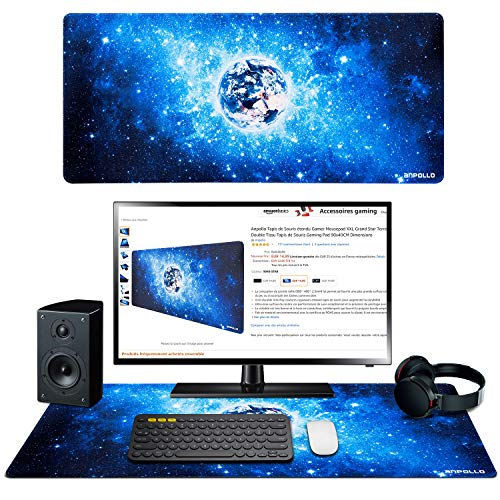 Anpollo Tappetino Mouse Gaming Grande XXL, 900x400mm Mouse Pad, Tappetino per Mouse da Gioco, Resistente all'Acqua con Superficie Liscia, Bordi Cuciti per Tastiera, Laptop
