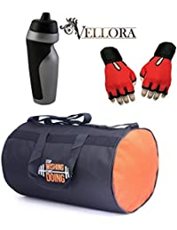 VELLORA Polyester Long Lasting Material, Duffel Gym Bag Blue With Penguin Sport Sipper, Gym Sipper Water Bottle... - B07F2J41MR
