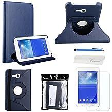 Foxnovo 4-en-1 giratoria 360 grados Stand PU Funda Flip Set para Samsung Galaxy Tab 3 Lite 7.0 T110 /T111 (azul oscuro)