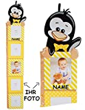 Unbekannt 3-D Meßlatte -  lustiger Pinguin  - incl. Name - mit austauschbaren Foto´s - von 80 cm bis 175 cm - zum Klappen / Falten - Messlatte - 5 Bilderrahmen - Foto..