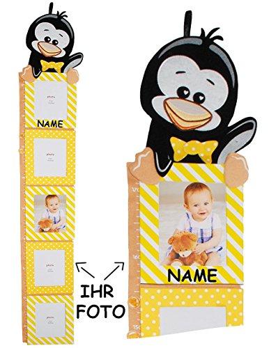 """Preisvergleich Produktbild 3-D Meßlatte - """" lustiger Pinguin """" - incl. Name - mit austauschbaren Foto´s - von 80 cm bis 175 cm - zum Klappen / Falten - Messlatte - 5 Bilderrahmen - Foto - Kinderzimmer für Kinder Kind - Pinguine Tiere - Tiermeßlatte - Tier Messlatte - Mädchen & Jungen - Stoffmeßlatte - Meßleiste"""