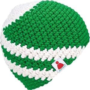 2Curves tief-grün/weiß Sionyx Mütze mit Streifen gehäkelt OHNE Bommel in Handarbeit für Sport und Freizeit Damen Herren Unisex Beanie