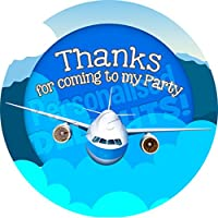 Personalised Delights Airplane Sticker Labels (24 Stickers, 4.5cm Each) NON PERSONALISED Seals Ideal for Party Bags, Sweet Cones, Favours, Jars, Presentations Gift Boxes, Bottles, Crafts