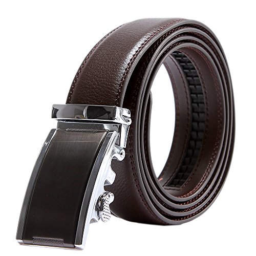 EMMA Hombre Cinturón de Cuero Negro con Automatica Marrón (Cintura: 26