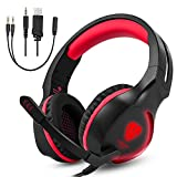 Auricolare da gioco, Umiwe Gaming Cuffie per PS4 PS3 Xbox One Computer Pro con Mic LED Light, Stereo Surround Sound (SL100 Rosso e Nero)