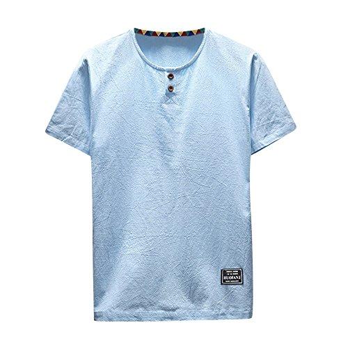 UFACE Herren Sommer T-Shirt Baumwolle Leinen Thai Hippie Hemd V-Ausschnitt Strand Yoga Top Bluse Hemd Weste Sweatshirt Baumwollshirt Longshirt Ärmellos Playsuit - Zwölf Tote Baumwolle