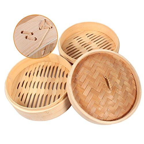 Bambusdämpfer Steamer Kochen Gemüse Dämpfer 2 Etagen Durchmesser 20cm Höhe 14.5cm Dampfgarer Dampfkorb für Reis Dim Sum Dumplings Kartoffeln Möhren
