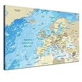 LANA KK Europakarte Leinwandbild mit Korkrückwand zum pinnen der Reiseziele englisch Kunstdruck, frozen, 60 x 40 cm